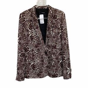 The Kooples Animal Print Crepe Blazer Jacket